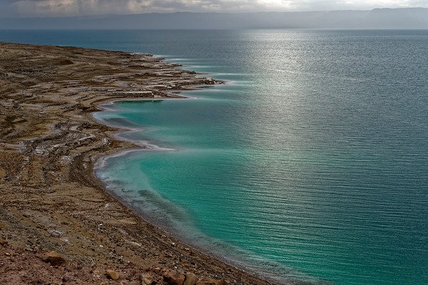 Dead Sea coast - exposing the lovely water colors. The hills on the opposite coast correspond to Israel.