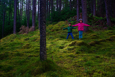 Vedanth and Riya pose along the walk to Bruar House Falls - the light was magical!