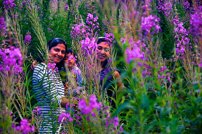 Smitha, Vedanth and Harini pose with the beautiful Royal purple wild orchids