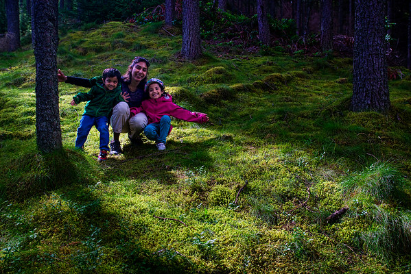 Smitha, Vedanth and Riya pose along the walk to Bruar House Falls - the light was magical!