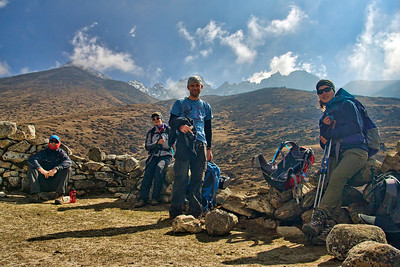 Marius, Michelle, Andrew, Natasha take a breather on the way from DingBoche to Lobuche